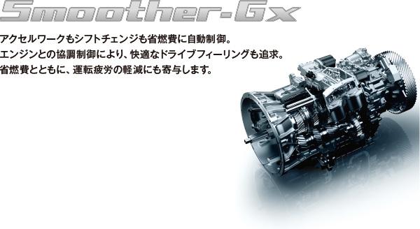 Smoother-Gx アクセルワークもシフトチェンジも省燃費に自動制御。 エンジンとの協調制御を加え、ドライブフィーリングも大幅に向上。 省燃費とともに、運転疲労の軽減にも寄与します。