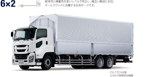 6×2 経済性と積載性を高いレベルで両立し、幅広い輸送に対応。オールラウンドに活躍する汎用カーゴです。