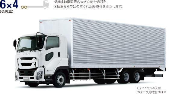6×4(低床車) 低床4軸車同等の大きな荷台容積と 3軸車ならではのすぐれた経済性を両立します。