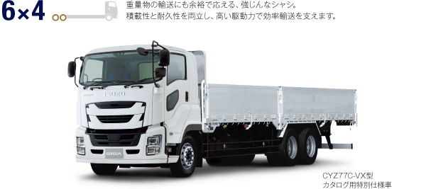 6×4 重量物の輸送にも余裕で応える、強じんなシャシ。積載性と耐久性を両立し、高い駆動力で効率輸送を支えます。